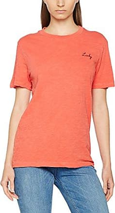 Scotch & Soda Maison Garment Dye S/s tee with Small Chest Embroidery, Camiseta para Mujer, Rojo (Gaucho Rouge 1301), Medium