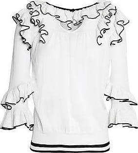 Cheap Sale Footlocker Finishline For Sale Online Maje Woman Ruffled Stretch-knit Sweater White Size 3 Maje Excellent Sale Online ssj4tUx8f