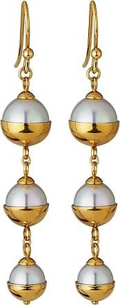 Majorica Graduated Triple-Pearl Dangle Earrings, Golden