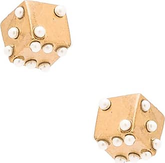 Marc Jacobs Charms Dice Stud Earrings in Metallic Gold W1FQSDrB