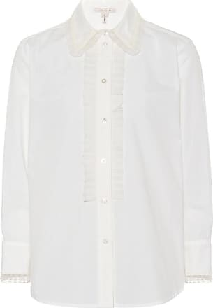 Marc Jacobs Woman Ruffle-trimmed Cotton-blend Poplin Shirt White Size 4 Marc Jacobs Cheap Sale 2018 New gH0BXsN
