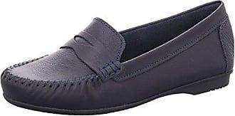 Damen Leder Slipper Moccasin Navy Antic Blau Flach Bequem, Schuhgröße:40 Marco Tozzi