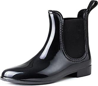 AgeeMi Shoes Damen Rund Schließen Zehe Gummistiefel Regenstiefel Chelsea Boots,EuY05 Schwarz 38