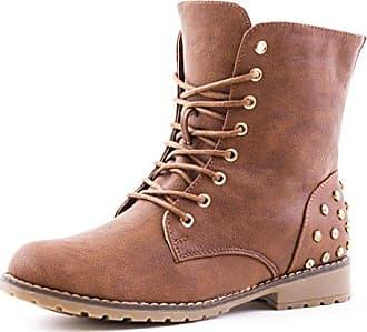 Marimo Damen Schnür Boots Stiefeletten in Hochwertiger Lederoptik Blau 37 jG9k83Rvha