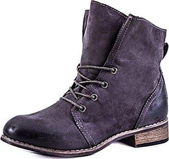 Stylische Basic Schnür Boots Stiefeletten in Hochwertiger Lederoptik Grau 37 Marimo Nl4ZxQ