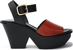 Marni Woman Two-tone Leather Platform Sandals Brick Size 40 hyTHCFv