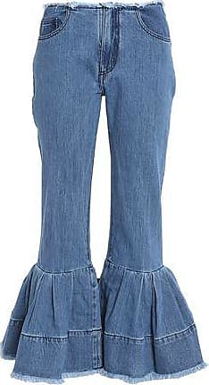 Marques Almeida Woman Frayed Pleated Low-rise Flared Jeans Light Denim Size 10 Marques Almeida Free Shipping NigJz