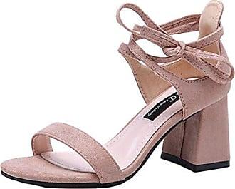 Binying Damen Peep-Toe Knöchelriemchen Blockabsatz Schnürsenkel Sandalen EU 37 Pink Mashiaoyi lljnZ