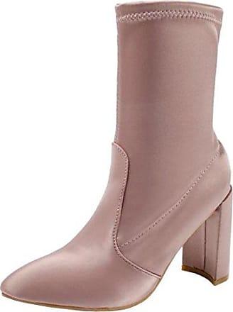 SHOWHOW Damen Szrass Spitze Plateaustiefel Kurzschaft Stiefel Mit Absatz Pink 38 EU 8cFi3iNWE