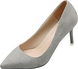SHOWHOW Damen Elegant Satin Spitz Zehe Low Top Stiletto Pumps Grau 35 EU R427ly