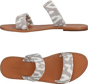 Maslin & Co Woman Sauvage Printed Terry And Leather Sandals Mushroom Size 35 Maslin & Co oF6W4F
