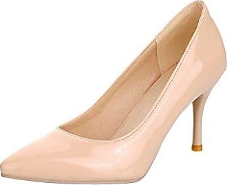 Damen Bequem Modern Spitz Gummiband Geschlossen Knöchelriemchen Niedrig Pumps (36, Beige) Mee Shoes