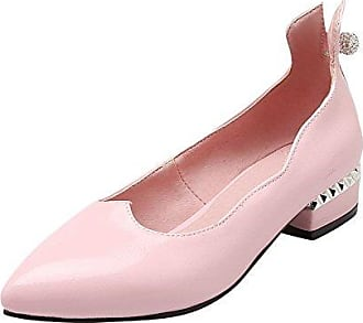 Damen süß Keilabsatz spitz mit Strass Metall-Dekoration Geschlossen Pumps (35, Violett) Mee Shoes