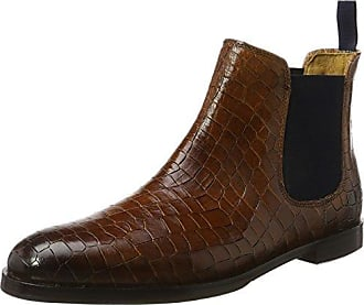 Sally 45, Bottes Chelsea Femme - Gris - Grau (Big Croco/Crust Rope (1,3,4)/Rope (2)/Rivets Silver Outs, Ela. Mid Brown, Hrs Brown)Melvin & Hamilton
