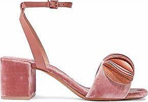 Mercedes Castillo Woman Blanche Satin-trimmed Velvet Mules Light Size 7.5 3yTHy1ypA9