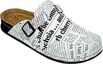 Miccos Shoes Clogs, Pantoletten D.Clog in weiß/Zeitungsprint, Größe 38.0,