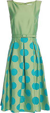 Mikael Aghal Woman Pleated Polka-dot Satin-twill Dress Bright Green Size 4 Mikael Aghal r7aG53