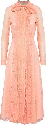 Mikael Aghal Woman Ruffle-trimmed Corded Lace Dress Navy Size 2 Mikael Aghal NvNVHV2CJ