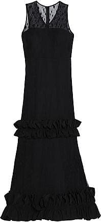 Cheap Sale Low Price Online Cheap Price Mikael Aghal Woman Ruffle-trimmed Flocked Tulle Dress Black Size 2 Mikael Aghal Collections For Sale 7dwRV