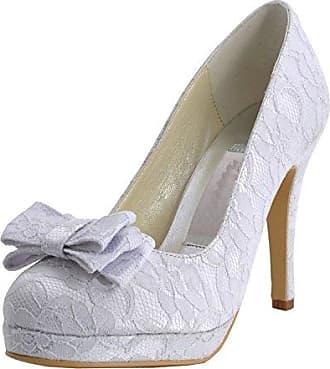 Minitoo , Damen Pumps, weiß - White-10cm Heel - Größe: 43