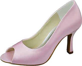 Ital-Design High Heel Damen Schuhe Plateau Pfennig-/Stilettoabsatz High Heels Pumps Rosa Braun, Gr 38, Hp-6-