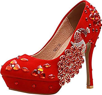 Minitoo , Damen Pumps, rot - Red-10cm Heel - Größe: 40