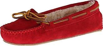 Minnetonka W Cally Slipper - Zapatillas de estar por casa de cuero para mujer, Rojo (Red), 8 UK
