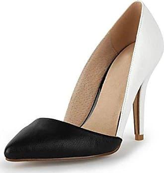 Miyoopark , Damen Durchgängies Plateau Sandalen mit Keilabsatz , weiß - White/Black-9.5cm Heel - Größe: 42