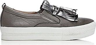 Damen Sneaker Grau Zinnfarben, Grau - Zinnfarben - Größe: 38 Moda in Pelle