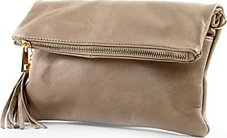 modamoda de - ital. Ledertasche Clutch Umhängetasche Unterarmtasche Klein Nappaleder T54, Präzise Farbe:Graubeige modamoda de - Made in Italy