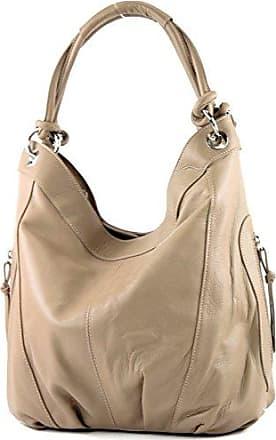 modamoda de - ital. Ledertasche Damenhandtasche Schultertasche Leder + Nappaleder Z18, Präzise Farbe:Helltaupe modamoda de - Made in Italy