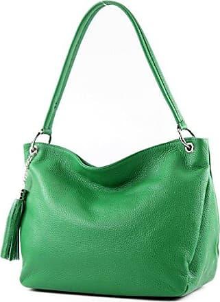 modamoda de - ital. Ledertasche Damentasche Schultertasche Umhängetasche Echtleder T154, Präzise Farbe:Rot modamoda de - Made in Italy
