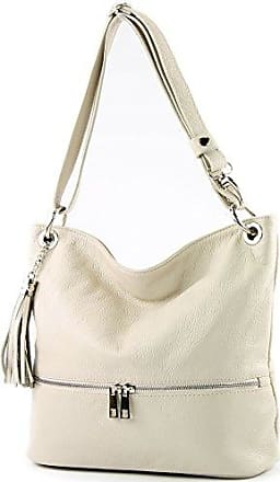 modamoda de - ital. Ledertasche Umhängetasche Crossover Leder Medium Damenhandtasche T10, Präzise Farbe:Weiß/Camel modamoda de - Made in Italy