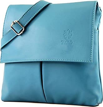 modamoda - ital. Ledertasche Schultertasche Umhängetasche Damentasche Nappaleder T33, Präzise Farbe:Türkis modamoda de - Made in Italy