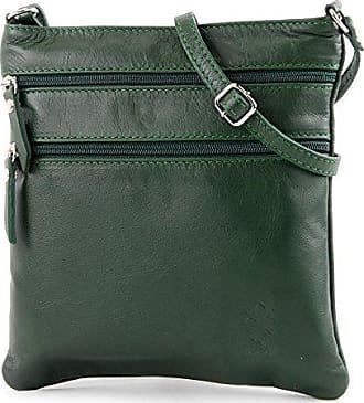 modamoda - ital. Ledertasche Schultertasche Umhängetasche Damentasche Nappaleder T33, Präzise Farbe:Dunkelgrün modamoda de - Made in Italy
