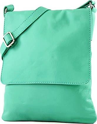 modamoda - ital. Ledertasche Schultertasche Umhängetasche Damentasche Nappaleder T33, Präzise Farbe:Eisblau modamoda de - Made in Italy