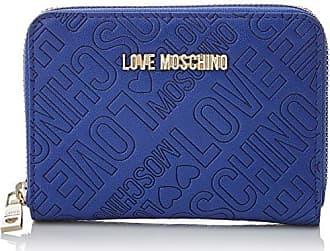 Toile Portafogli Naturale + Blu Pu, Femmes D'embrayage, Multicolores (toile Bleu Naturel), 3x10x20 Cm (bxht) Moschino D'amour