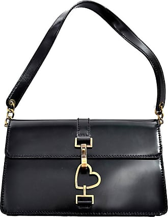 Moschino Vintage Leather Handbag Heart Clasp Shoulder Bag My0ntkv