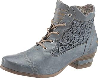 Mustang Shoes Schnürstiefelette, mit Lasercut und Strass-Steinchen, blau, EURO-Größen, blau