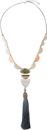 Nakamol Beaded Necklace w/ Labradorite & Tassel ybLmcq