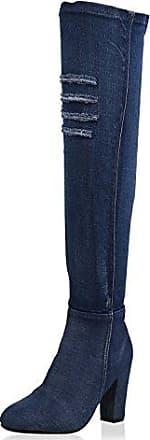 napoli-fashion Damen Schuhe Overknees Denim Stiefel Cut-Outs Blockabsatz Dunkelblau Denim 36 Jennika shphld4Sn8