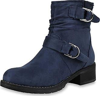 napoli-fashion Damen Schuhe Stiefeletten Biker Boots Leicht Gefütterte Booties Schnallen Schwarz Nieten Nero 37 Jennika N00Ubd