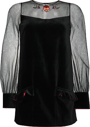 Velvet mini dress with sheer sleeves - Schwarz Navro
