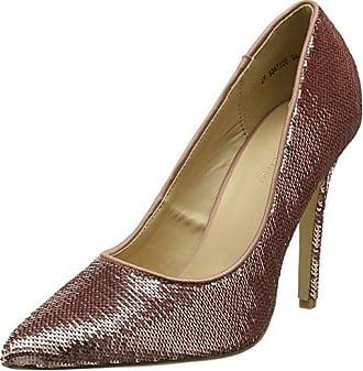 5378371 - Zapatos de tacn con Punta Cerrada de Material Sintético Mujer, Color Dorado, Talla 39 New Look
