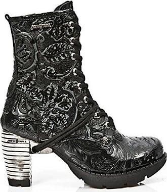 M-TR001X-S2 Schwarzer Neuer Rock Stiefel im Vintage-Design mit SchnYrung und schwarzer High Block-Ferse aus der New Rock Trail Collection New Rock 84Cna6Y3