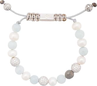 Nialaya Beaded Wristband with White Pearl and Gold - Extra Small 1wZXR4O7q