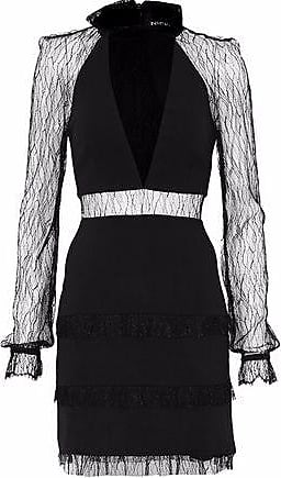 High Quality Cheap Price Nicholas Woman Picot-trimmed Fluted Lace Dress Black Size 12 Nicholas Discount Visa Payment Choice For Sale With Credit Card For Sale Hyper Online tygpeoJJz2