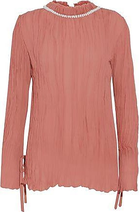 Discount Get To Buy Factory Outlet For Sale Nina Ricci Woman Shell-embellished Plissé Silk-chiffon Blouse Antique Rose Size 38 Nina Ricci 2018 New Cheap Price Buy Cheap Price GTb1k9uh