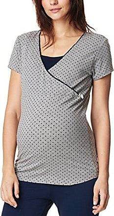 Noppies tee Nursing LS Feline 66612, Camisa de Pijama Premamá para Mujer, Multicolor (Grey Melange C246), 40 (Talla del Fabricante: Large)