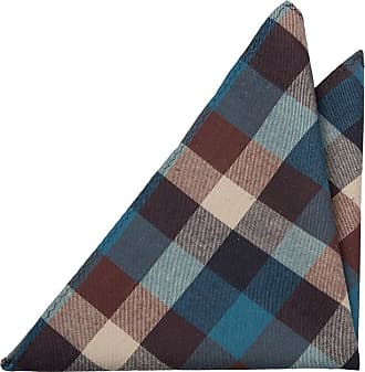 Cravate Mince - Motif À Damier Marron, Beige, Or Et Encoche Marine